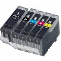5/8 – Cartouche d'encre équivalent CANON PGI-5-CLI-8 compatible (PGI5-CLI8) – PACK 5 CARTOUCHES – NOIRS / COULEURS