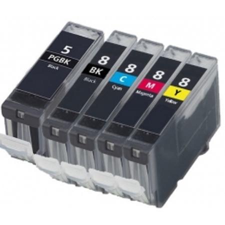 5/8 - Cartouche d'encre équivalent CANON PGI-5-CLI-8 compatible (PGI5-CLI8) - PACK 5 CARTOUCHES - NOIRS / COULEURS
