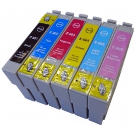 """0807 - Cartouche d'encre équivalent EPSON T0807 compatible (T0797) """"Colibri et Chouette""""PACK 6 COULEURS"""