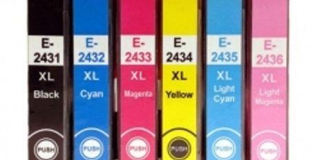 2438 - Cartouche d'encre équivalent EPSON T2438 compatible « Eléphant » PACK 6 COULEURS XL