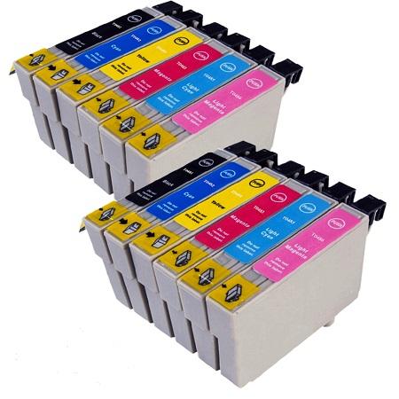 0487 - Cartouche d'encre équivalent EPSON T0487 compatible « Hippocampe » PACK 12 CARTOUCHES - 6 COULEURS