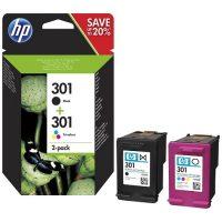 301 – HP 301 Pack de 2 cartouches d'encre – 1 Noir + 1 Trois couleurs (cyan, magenta, jaune) originales (N9J72AE)