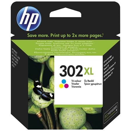 302 - HP 302XL Cartouche d'encre Trois couleurs (Cyan,Magenta,Jaune) originales grande capacité (F6U67AE)