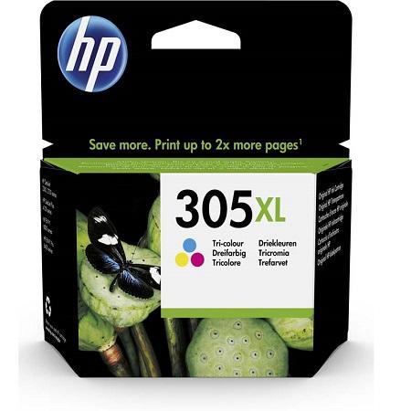 HP 305XL Cartouche d'encre Trois couleurs (Cyan, Magenta, Jaune) authentique grande capacité (3YM63AE)