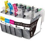 3213 – Cartouche d'encre équivalent BROTHER LC 3213 compatible (LC3213) Pack 5 cartouches dont 2 noires