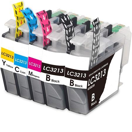 3213 - Cartouche d'encre équivalent BROTHER LC 3213 compatible (LC3213) Pack 5 cartouches dont 2 noires