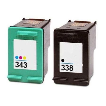 338/343 – Cartouche d'encre équivalent HP 338/343 compatible (HP338-HP343) C8765EE C8766EE NOIR + TRICOLOR