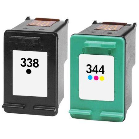 338/344 – Cartouche d'encre équivalent HP 338 / HP 344 compatible – C8765EE et C9363EE NOIR+TRICOLOR
