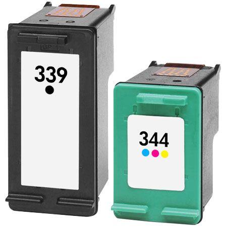 339/344 – Cartouche d'encre équivalent HP 339/344 compatible – C8767EE/C9363EE NOIR + TRICOLOR