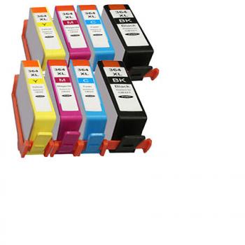 364 - Cartouche d'encre équivalent HP-364XL compatible X 8 (HP364) PACK 4 CARTOUCHES XL