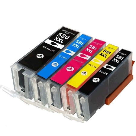 580/581 – Cartouche d'encre équivalent CANON PGI-580-CLI-581 XXL compatible 1998C005 (PGI580/CLI581) – PACK 5 CARTOUCHES / 4 COULEURS