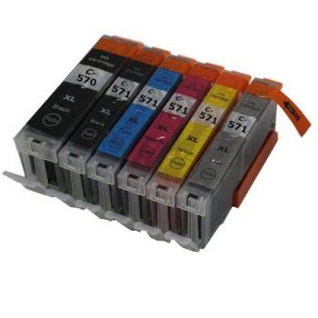 570/571 - Cartouche d'encre équivalent CANON PGI-570-CLI-571 compatible + GY (PGI570/CLI571) - PACK 6 CARTOUCHES / 5 COULEURS AVEC GRIS