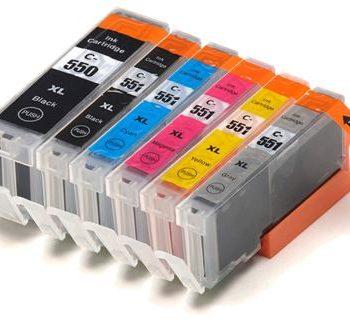550/551 - Cartouche d'encre équivalent CANON PGI-550-CLI-551 compatible + GRIS (PGI550-CLI551) PACK 6 CARTOUCHES XL AVEC GRIS