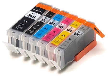 550/551 – Cartouche d'encre équivalent CANON PGI-550-CLI-551 compatible + GRIS  (PGI550-CLI551)  PACK 6 CARTOUCHES XL AVEC GRIS