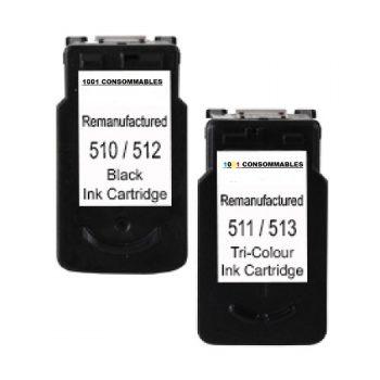 512-513 - Cartouche d'encre équivalent Canon PG-512 + CL-513 Noir + Couleur 30ml - Haute capacité compatible