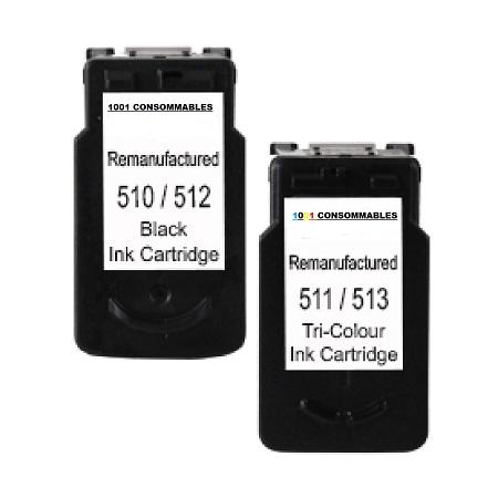 512-513 – Cartouche d'encre équivalent  Canon PG-512 + CL-513 Noir + Couleur 30ml – Haute capacité compatible