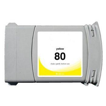 Cartouche d'encre équivalent HP 80 compatible C4848A (HP80) Jaune350 Ml