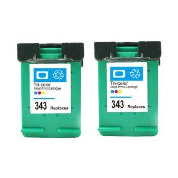 343 - Cartouche d'encre équivalent HP 343 compatible C8766EE X 2 (HP343) TRICOLOR X 2