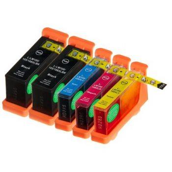Cartouche d'encre équivalent LEXMARK 100XL Pack 5 Cartouches dont 2 noires