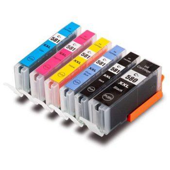 580/581 - Cartouche d'encre équivalent CANON PGI-580-CLI-581 XXL compatible (PGI580/CLI581) - PACK 6 CARTOUCHES AVEC PHOTO BLEUE