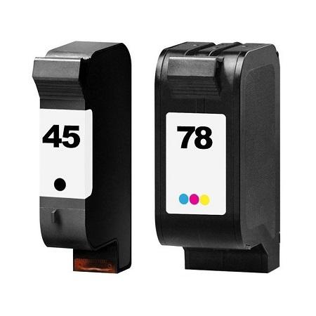 Cartouche d'encre équivalent HP 45-78 compatible Noir+Tricolor