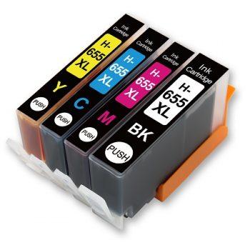 655 - Cartouche d'encre équivalent HP 655 compatible (HP655) PACK 4 Cartouches
