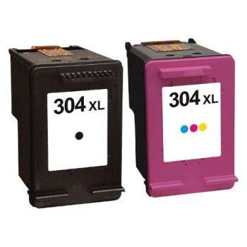 304 - Cartouche d'encre équivalent HP 304XL compatible N9K08AE / N9K07AE (HP304) NOIR + TRICOLOR XL