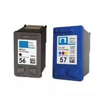 56/57 - Cartouche d'encre équivalent HP 56/57 compatible C6656A-C6657A (HP56-57) NOIR + TRICOLOR