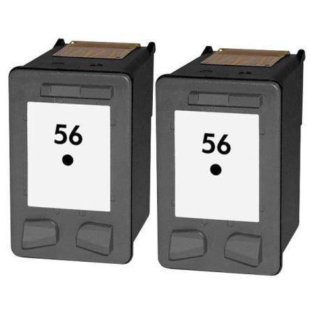 56 - Cartouche d'encre équivalent HP 56 compatible C6656A x 2 (HP56) NOIR x 2
