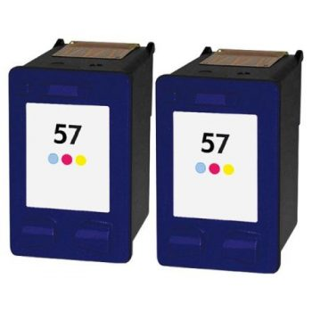 57 - Cartouche d'encre équivalent HP 57 compatible C6657A X 2 (HP57) TRICOLOR X 2