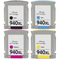 940 - Cartouche d'encre équivalent HP 940 XL compatible Pack 4 couleurs XL