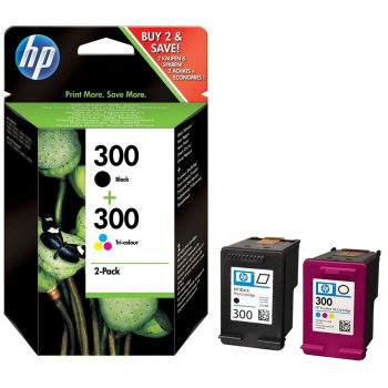 HP 300 (CN637EE) Multipack Noir / Tricolor Multipack 2 cartouches d'encre HP 300 CC640EE+CC643EE