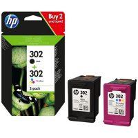 HP 302 pack une cartouche d'encre 3 couleurs (Cyan,Magenta,Jaune) et une cartouche Noire (X4D37AE)