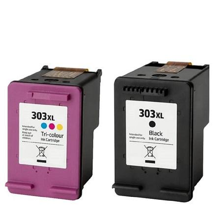 Cartouche d'encre équivalent HP 303 XL compatible (HP303) pack T6N03AE tricolore et T6N04AE noire