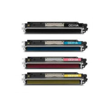 310 - Toner laser équivalent HP-310A - CE310-CE311-CE312-CE313 (HP310) compatible PACK 4 COULEURS