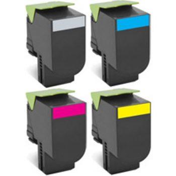 802 - Toner laser équivalent LEXMARK 802 PACK compatible 80C2HK0-80C2HC0-80C2HM0-80C2HY0 PACK 4 COULEURS